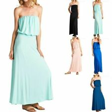 Strapless Solid Ruched Dull Length Tube Maxi Dress Casual Rayon Cute S M L