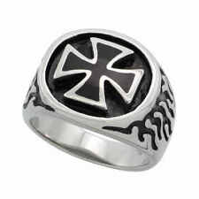 Stainless Steel - Maltese Cross with Flames Ring (FR095)