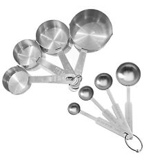 4/8Pcs Stainless Steel Baking Cooking Scoop Measuring Spoon Cup Kitchen Tool Set
