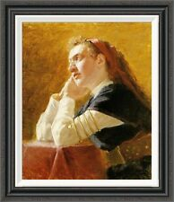 'Portrait of a Young Woman' by Ilia Efimovich Repin Framed Painting Print