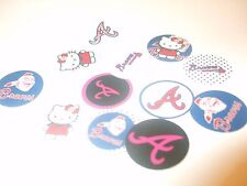 Pre Cut One Inch HELLO KITTY ATLANTA BRAVES Bottle Cap Images! FREE SHIP