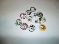 Pre Cut One Inch NERD HELLO KITTY Bottle Cap Images! FREE SHIP