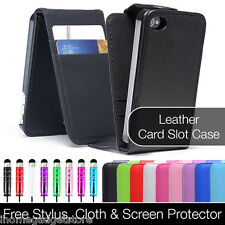 NEW FLIP LEATHER  CASE COVER FITS APPLE IPHONE 4 4S FREE SCREEN PROTECTOR STYLUS