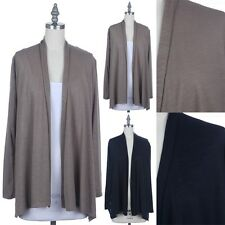 Women's Solid Long Sleeve Ruched Back Draped Open Casual Cardigan Rayon S M L