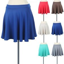 Solid Flare Mini Skater Skirt Stretchable Cute Simple Polyester Spandex S M L