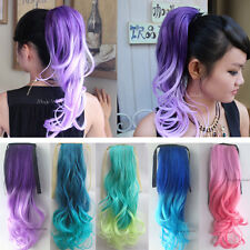 Fashion Long Wavy Cosplay Ombre Ponytails Clip-in Hair Extensions Hairpiece