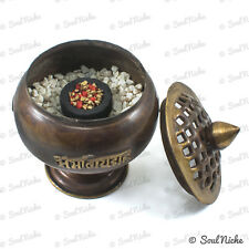 Om Mani Tibetan Metal Censer Resin Incense Charcoal Burner Bowl Lid (BBR143)