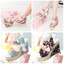 Fashion Floral Belt Bow High Heeled Thick Flip Flops Beach Nude Sandals Summer