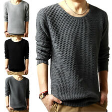 New Men's Slim Fit Crew Neck Knit Casual Cardigan Pullover Jumper Sweater Tops