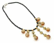 Zest Short Black Beaded Choker Necklace with Beads & Gold Look Flowers