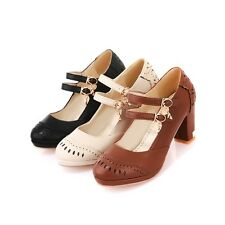 New Women's Shoes Synthetic Leather Med Block Heels Ankle Strap Pumps