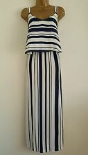 M&S Navy White Striped Layered Summer Evening Maxi Dress Holiday Party Size 18