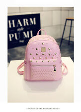 Woman Rivet Satchel Small PU Backpack Shoulder Kid Bag Schoolbag Waterproof Pink