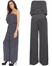 NEW WOMENS POLKA DOT BANDEAU FRILL FRONT WIDE PALAZZO LEG JUMPSUIT SIZE 8-22