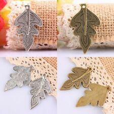 8X Tibetan Silver/Bronze Leaf Leaves Plants Charms Pendant Beads Craft Findings