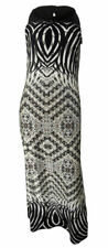 BHS stretchy black/taupe/cream geometric print maxi dress with cut away sleeves