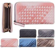LADIES FASHION FAUX LEATHER LONG ZIP SMALL WEAVED COIN PURSE WOMENS WALLET CARD