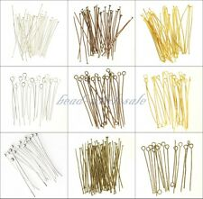 100 pcs Silver Golden Head/Eye/Ball Pins Finding 21 Gauge 15-70mm