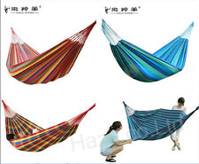 Double/Single Person Hammock Cotton Rope Outdoor Swing Hanging Canvas Bed