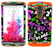 Retro Peace Groovy Pink Orange Shock Resistant Hard Case Cover for LG Optimus G3