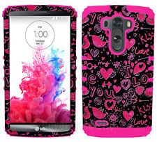 I Love You Pink Hearts Birds Protective Hybrid Hard Cover Case for LG Optimus G3