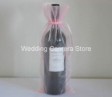 """12 pink Organza Bags - Bottle/Wine bags,Gift bags 6x14"""""""