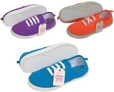 Girls Kids & Ladies Womens Lace Up Trainers Shoe Pump Plimsoll Flat Canvas White