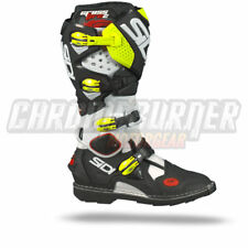 SIDI Crossfire 2 Motorcycle Boots White Black Yellow-Fluor, NEW!