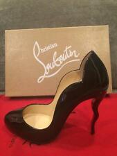 Christian Louboutin WAWY DOLLY 100 Squiggly Heels Patent Pumps Shoes Black $795