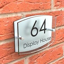 House Sign Glass Effect Door Number Plaque Acrylic Road Name Plate