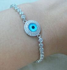 NEW - 925 Sterling Silver Cz Round Blue Evil Eye Adjustable Bracelet 13cm - 23cm