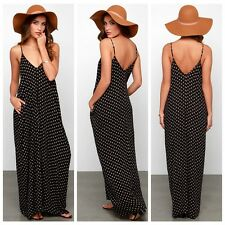 Women Girls Sexy V Neck Loose Strap Polka Dot Party Club Summer Long Maxi Dress