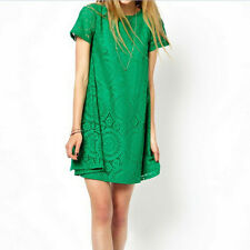 Women Short Sleeve Loose Lace Hollow Out Casual Tops Skirt Dress Bigsize Hot AT