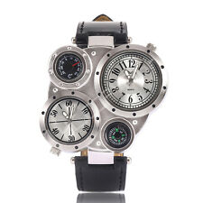 Sport Military Luxury Oulm Quartz Dial Men Dual Core Leather Band Wrist Watch