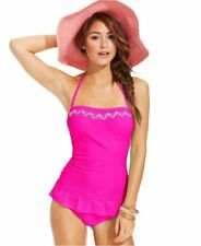 NWT Hula Honey Pink Embroidered Ruffle-Hem Swimdress One-Piece Swimsuit Sz XS-XL