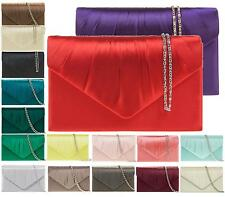 WOMENS CLUTCH BAG EVENING BRIDAL PROM WEDDING SATIN HANDBAG