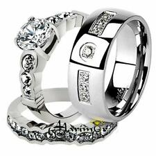 His & Her 3pc Stainless Steel Bridal Engagement Ring Set & Zirconia Wedding Band