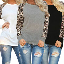 Womens  Long Sleeve Chiffon Leopard Loose  Casual Blouse Tops T-Shirt