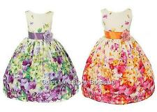 New Floral Cotton Dress sz 2-12 Flower Girl Birthday Party Graduation Easter USA