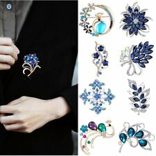 White Gold Filled 18K Sapphire Crystal Costume Brooch Pin Wedding Bride Jewelry