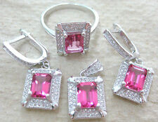 "925 STERLING SILVER ""REAL PINK TOPAZ rectangle"" EARRINGS & RING & PENDANT -WOMEN"