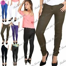 New Womens Ladies Skinny Fit Coloured Stretchy Jeans Trousers Leggings Jeggings