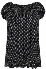 Plus Size Womens Polka Dot Print Frill Top With Elasticated Neckline