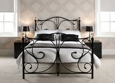Florence Bed Frame Metal Crystal With Mattress Option 3ft 4ft6 5ft Black White
