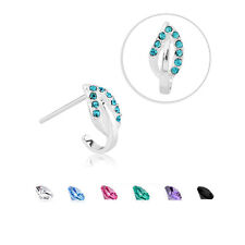 925 Sterling Silver Nose Hugger Stud Ring Leaf CZ - Choose Your Style