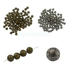 100/50pcs 6/8/10mm Hollow Filigree Round Metal Charms Bead Jewelry Findings DIY