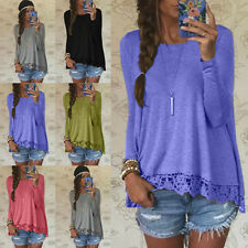 Women Soild Summer Tops Long Sleeve Blouse Casual Lace Crochet O-Neck T-Shirt