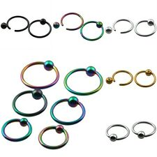 1Pc Round Ball Stainless Steel Hoop Ring Closure Nose Lip Ear Eyebrow Piercing