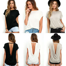 Hot Women Batwing Sleeve Shirt Cotton Blend Loose Casual Backless Tops Blouse