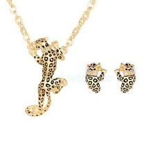 Fashion Chic Leopard Rhinestone Crystal Pendant Necklace Earrings Jewelry Set